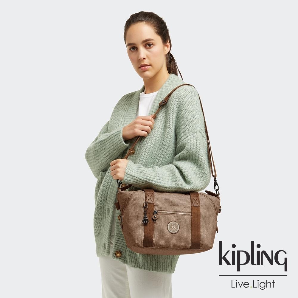 Kipling 烏龍拿鐵色手提側背包-ART MINI