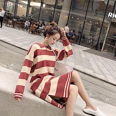 DABI 韓系條紋polo領針織寬鬆長袖洋裝
