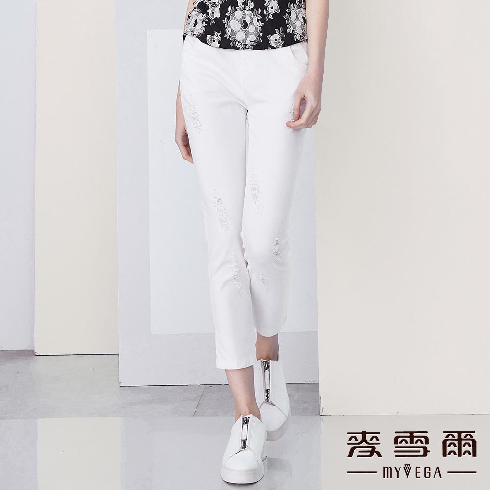 【麥雪爾】棉質刷破造型亮鑽彈力修身長褲