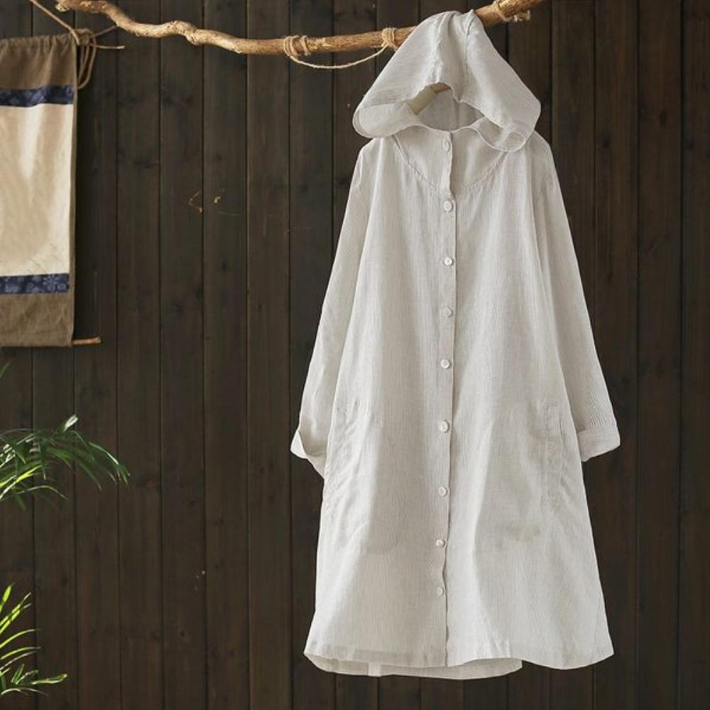 寬鬆棉麻連帽條紋襯衫文藝開衫外套長袖防曬衣-設計所在 product image 1