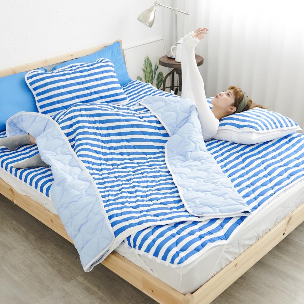 Adorar 平單式針織親水涼感墊+涼枕墊三件組-雙人加大(藍)