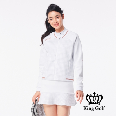 【KING GOLF】千鳥格壓拼接螺紋飛行外套-白色