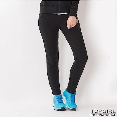 TOP-GIRL-蕾絲點綴休閒長褲-黑色