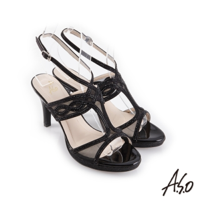 A.S.O 時尚流行 優雅時尚燙鑽腳踝帶細跟涼鞋-黑
