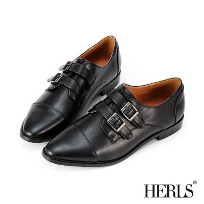 HERLS孟克鞋-內真皮雙帶釦鐶尖頭孟克鞋牛津鞋-黑色