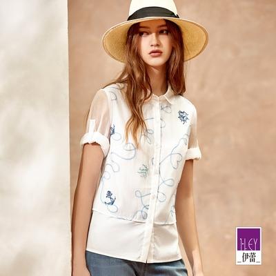 ILEY伊蕾 輕盈海洋刺繡萊賽爾拼接花瓣領上衣(白)1212071548