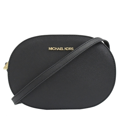 MICHAEL KORS JET SET 金屬LOGO橢圓拉鍊斜背包(黑)