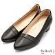 DIANA 4 cm 軟臘牛皮質感線條側鞋口尖頭低跟鞋-質感氛圍–黑糖黑 product thumbnail 1