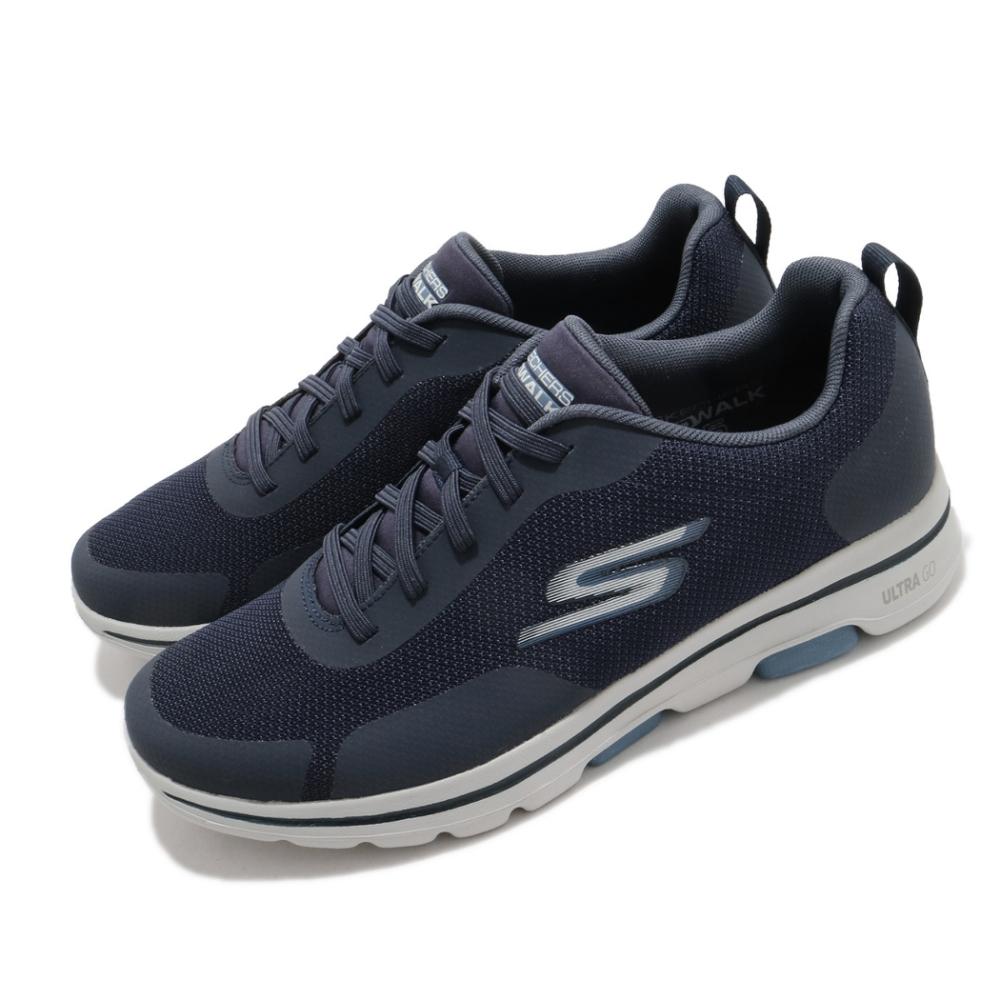 Skechers 休閒鞋 Go Walk 5-Truro 男鞋 健走 郊遊 踏青 避震 緩衝 回彈 藍 灰 216037NVY