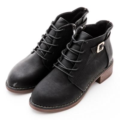 River&Moon復古扣環造型綁帶側拉鍊短靴-黑