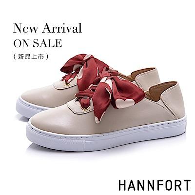 HANNFORT CAMPUS 愛心緞帶後踩休閒鞋-女-米白