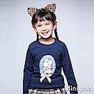 Mini Jule 上衣 蕾絲花朵立體蝴蝶結長袖上衣(寶藍)