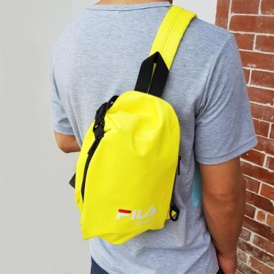 FILA 三角立體單肩包 斜背包 休閒包-金黃色