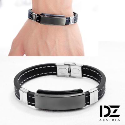DZ 光面健康磁石 316L白鋼矽膠手環手鍊(黑系)
