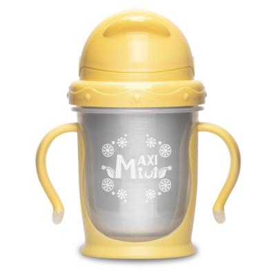 美國 【MaxiMini】 嬰幼兒抗菌不鏽鋼彈跳吸管水壺(奶油黃)