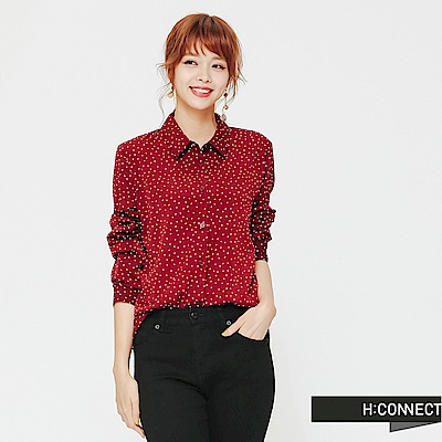 H:CONNECT 韓國品牌 女裝-復古風滿版點點襯衫-紅