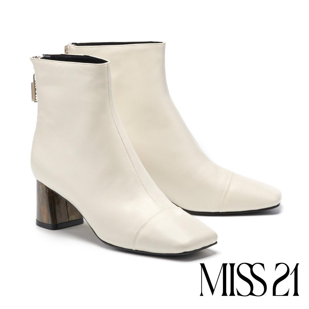 短靴 MISS 21 都市摩登漸層琥珀跟造型方頭粗跟短靴-白