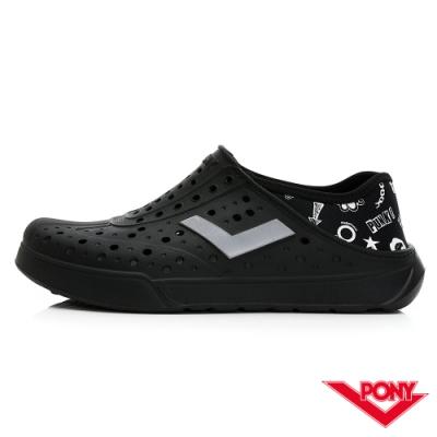 【PONY】ENJOY系列洞洞鞋-中性款-龐克/黑