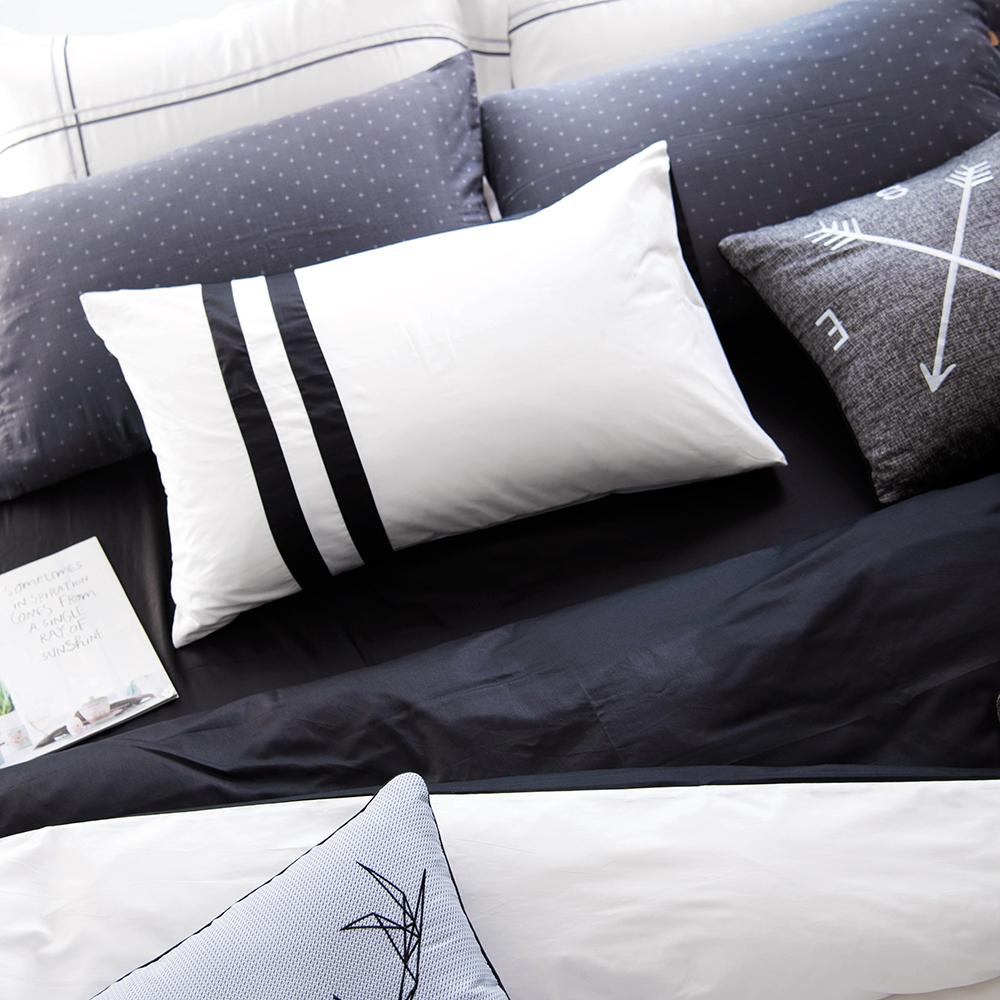 OLIVIA  玩色彩 黑白  單人床包枕套兩件組 素色無印