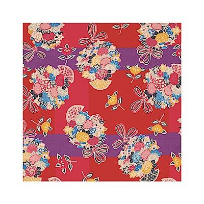 日本Prairiedog 繽紛文樣風呂敷/便當巾-繡球花(紅)
