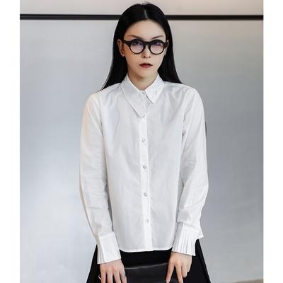 設計所在Style-港風韓版簡約斜扣領設計長袖白襯衫