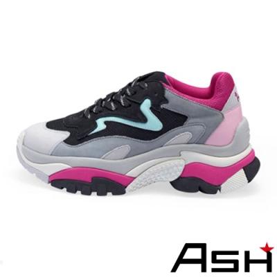 ASH-ADDICT潮流復古撞色厚底時尚增高老爹鞋-黑綠