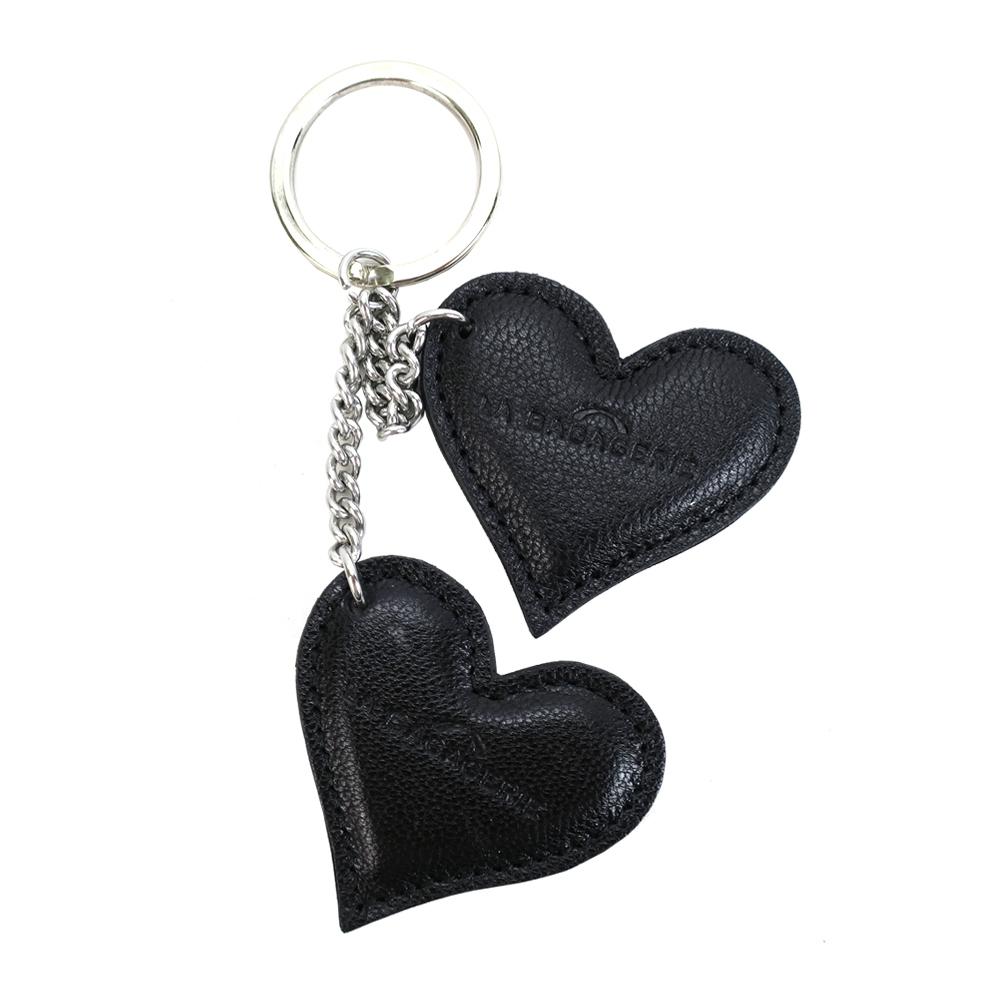 LA BAGAGERIE 牛皮雙心鑰匙圈(黑)