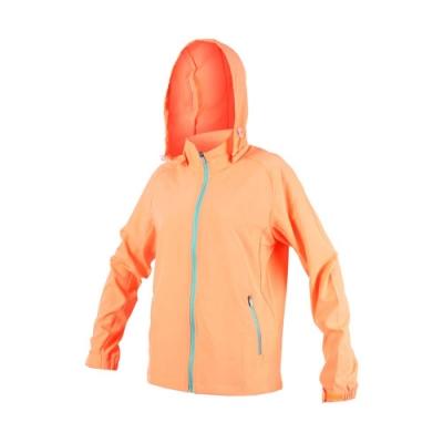 SOFO 女彈力布外套-路跑 慢跑 連帽外套 立領 可拆帽 亮橘