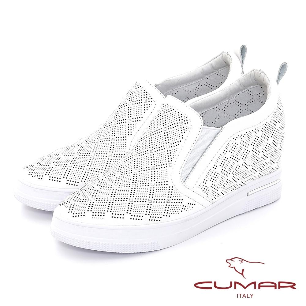 【CUMAR】清爽感沖孔打洞內增高休閒鞋-白