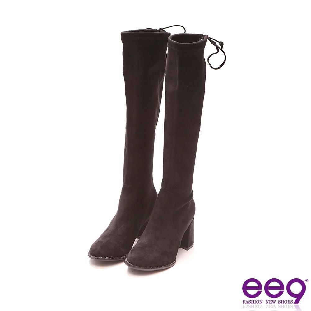 ee9 經典手工百搭素面粗跟膝上靴 黑色-387184  10