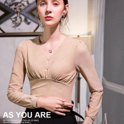 專注內搭-網紗亮絲內搭長袖泡泡袖高腰上衣(M-2XL可選)