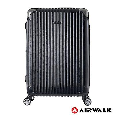 AIRWALK- 都市行旅28吋特光立體拉絲金屬護角輕質拉鍊行李箱 - 極光黑