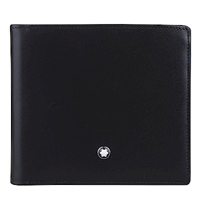 萬寶龍MontBlanc經典簡約對折短夾*8卡(黑)