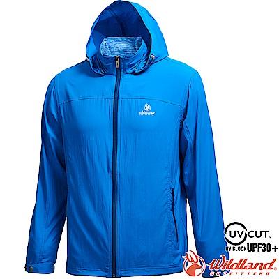 Wildland 荒野 0A71906-77中藍色 男彈性透氣抗UV輕薄外套