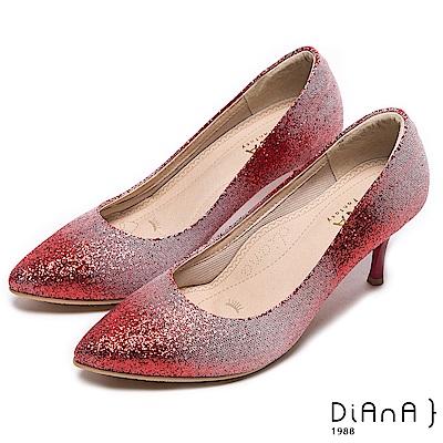 DIANA 漫步雲端焦糖美人款-奢華時尚金蔥耀眼跟鞋-紅