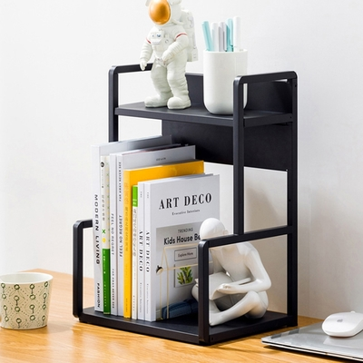 【HappyLife】H型桌面置物架花架-兩層30cm(黑色) 30×22×41.5cm