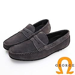 GEORGE 喬治皮鞋 經典系列 經典素面麂皮懶人真皮樂福鞋-灰