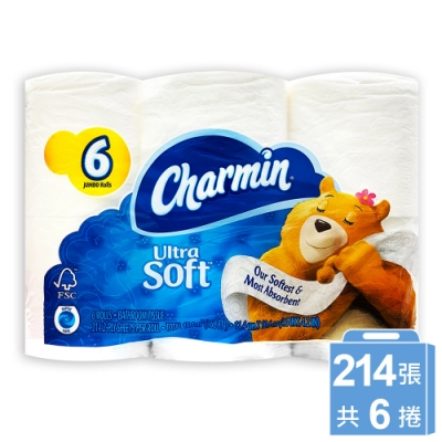 美國 Charmin 超柔軟捲筒衛生紙(214張x6捲/串)