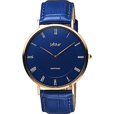 STAR 時代 城市情人羅馬石英手錶-藍x41mm