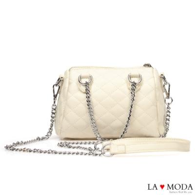 La Moda 約會不敗穿搭小香風菱格紋大容量肩背斜背鍊帶波士頓包(白)