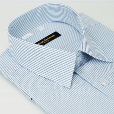 金‧安德森 藍白條紋吸排窄版短袖襯衫fast