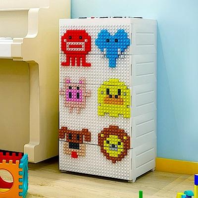【魔法腳印】童趣益智積木拼圖五層玩具收納櫃-可愛動物