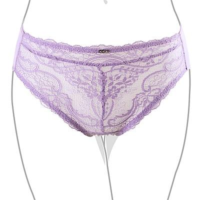 推EASY SHOP-愛上夢幻蕾絲 中腰三角褲(水漾紫)
