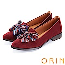 ORIN 俏麗女孩 布面大蝴蝶結設計樂福鞋-紅色