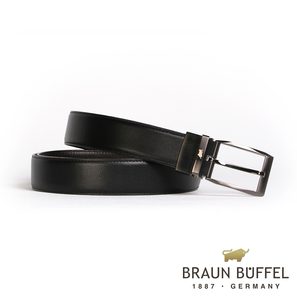 BRAUN BUFFEL - 經典紳士品味穿針式皮帶 - 鎗色