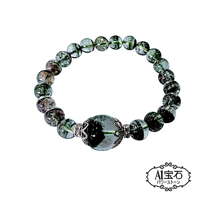 A1寶石   頂級綠幽靈清透千層幻影異象水晶手鍊(隨機出貨)