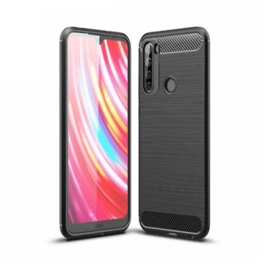 PKG 紅米Note8T 手機殼-時尚碳纖紋路+抗指紋-精緻黑