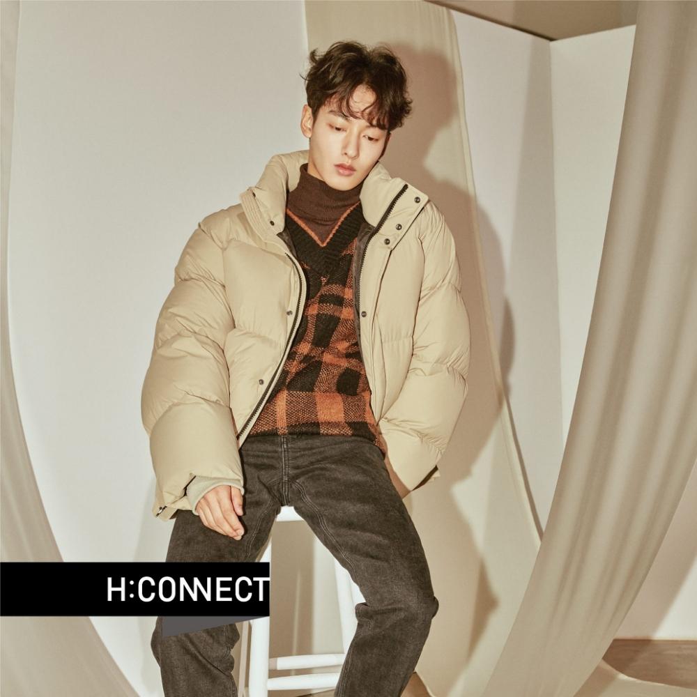 H:CONNECT 韓國品牌 男裝 - 立領保暖羽絨外套 - 卡其