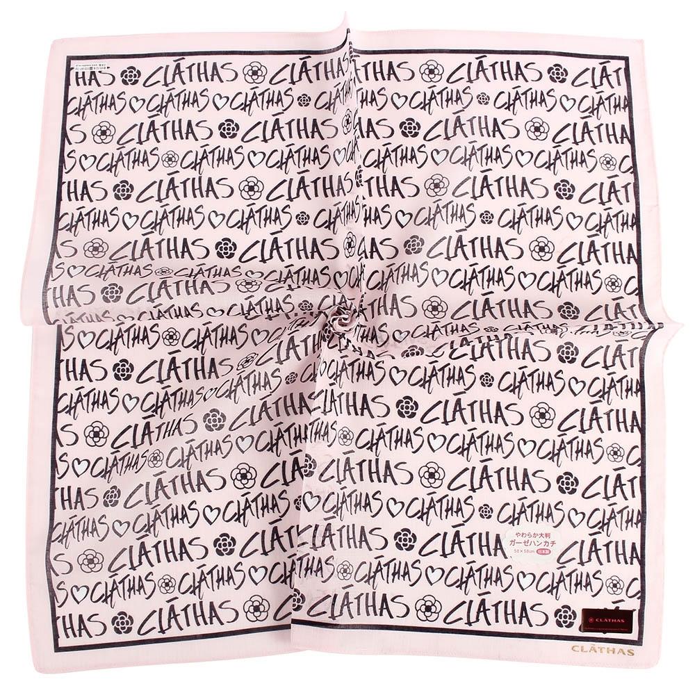 CLATHAS經典燙金LOGO滿版字母帕巾-粉紅色