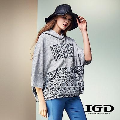 IGD英格麗 七分袖民族風拼接針織連帽上衣-淺灰